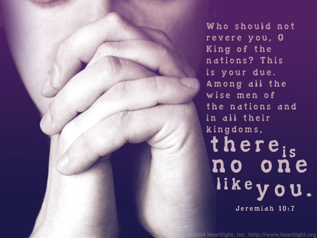 Illustration of Jeremiah 10:7 on Abba Father