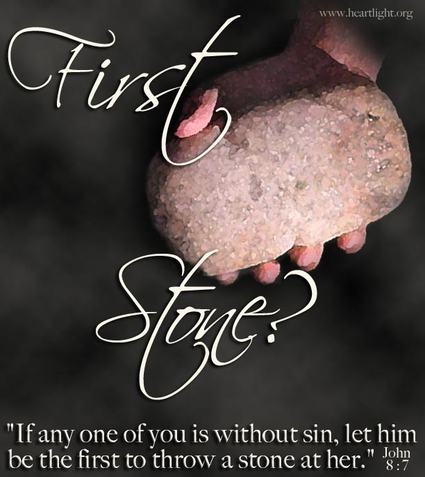 Illustration of John 8:7 on First