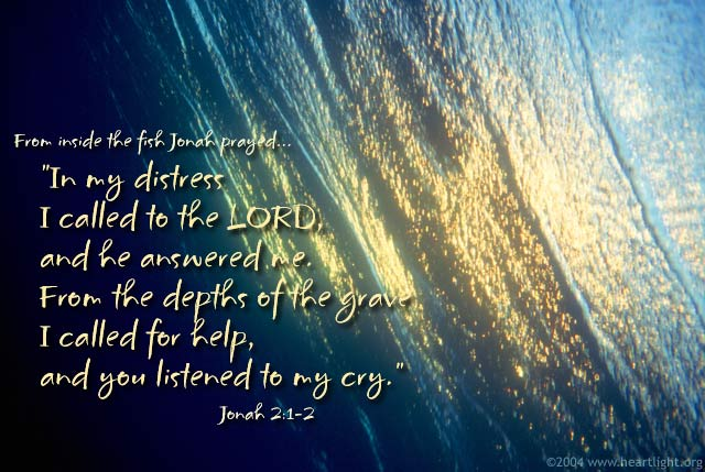 Illustration of Jonah 2:1-2 on Prayer