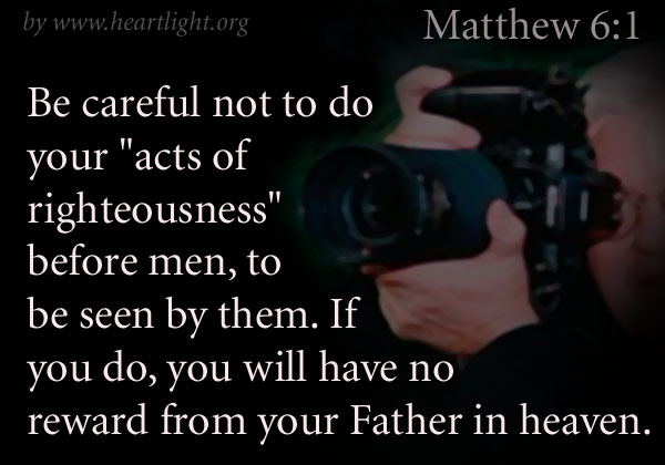 Illustration of Matthew 6:1 on Reward