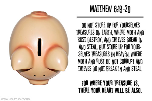 Illustration of Matthew 6:19-20 on Money