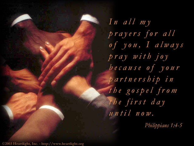 Illustration of Philippians 1:4-5 on Prayer