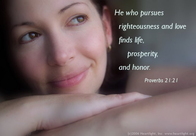 Illustration of Proverbs 21:21 on Love