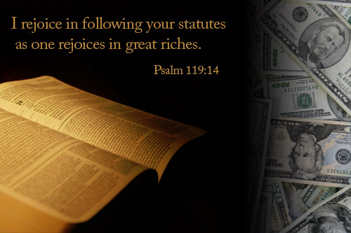 Illustration of Psalm 119:14 on Money