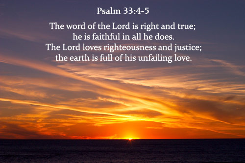 Illustration of Psalm 33:4-5 on Justice