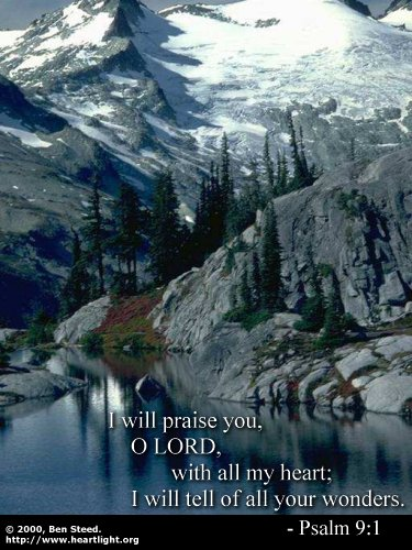 Illustration of Psalm 9:1 on Heart