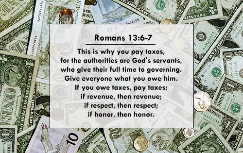 Illustration of Romans 13:6-7 on Money