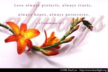 Illustration of the Bible Verse 1 Corinthians 13:7