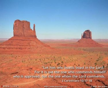 Illustration of the Bible Verse 2 Corinthians 10:17-18