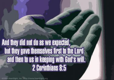 Illustration of the Bible Verse 2 Corinthians 8:5
