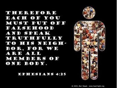 Illustration of the Bible Verse Ephesians 4:25