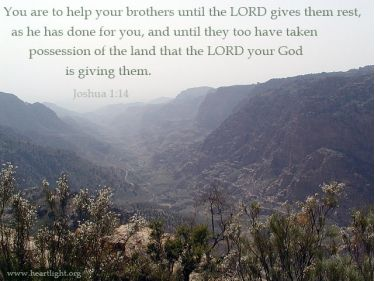Illustration of the Bible Verse Joshua 1:14-15
