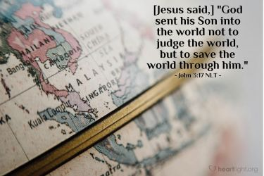 Illustration of the Bible Verse John 3:17 NLT