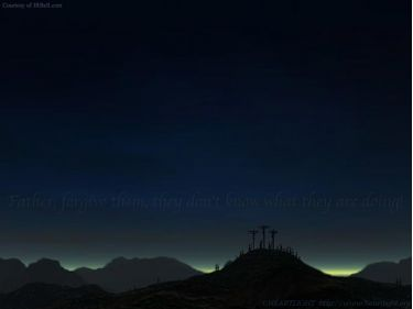 PowerPoint Background: Luke 23:34 Dk BLue