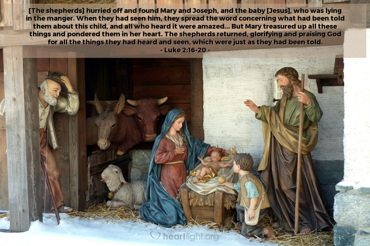 Inspirational illustration of Luke 2:16-20