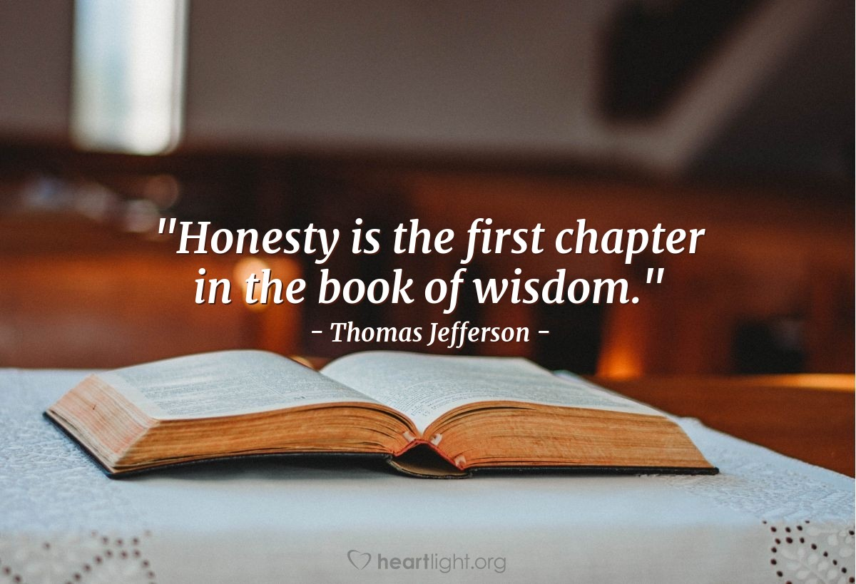 """Illustration of Thomas Jefferson — """"Honesty is the first chapter in the book of wisdom."""""""