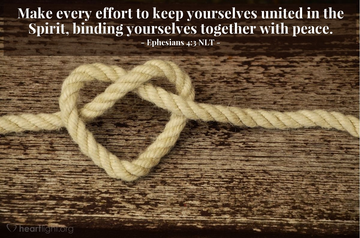 Illustration of Ephesians 4:3 NLT — Make every effort to keep yourselves united in the Spirit, binding yourselves together with peace.