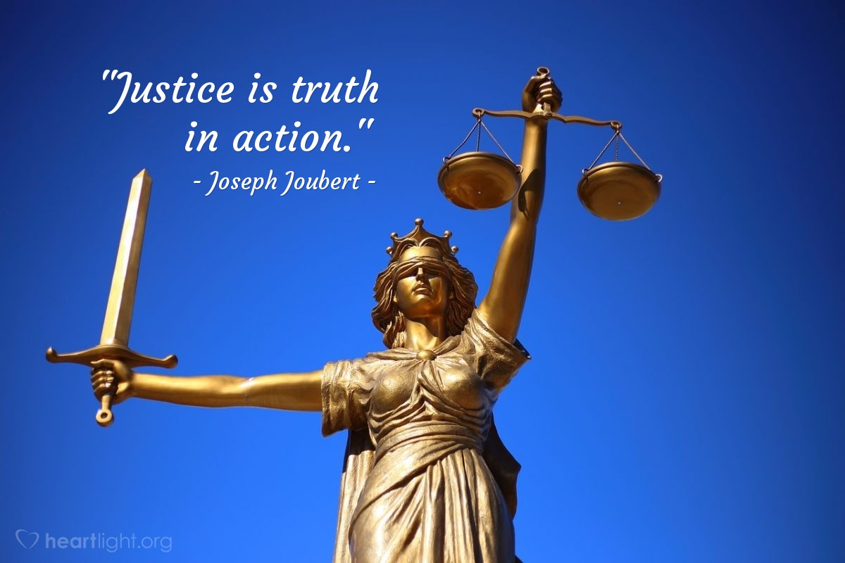 """Illustration of Joseph Joubert — """"Justice is truth in action."""""""