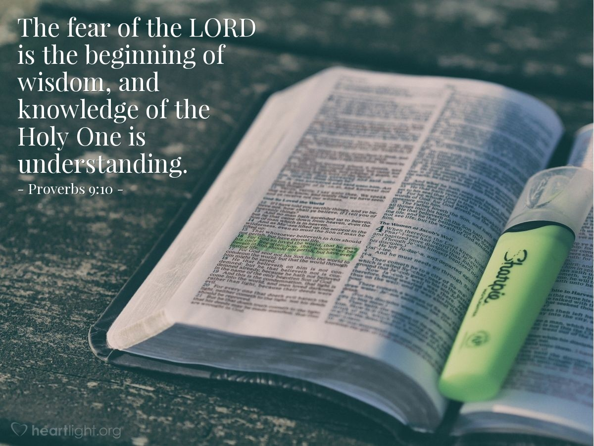 Illustration of Proverbs 9:10 — The fear of the LORD is the beginning of wisdom, and knowledge of the Holy One is understanding.