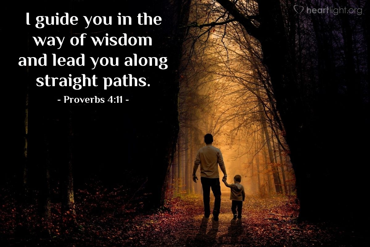 Illustration of Proverbs 4:11 — I guide you in the way of wisdom and lead you along straight paths.