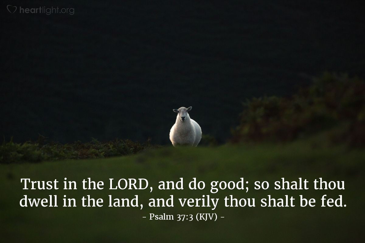Illustration of Psalm 37:3 (KJV) — Trust in the LORD, and do good; so shalt thou dwell in the land, and verily thou shalt be fed.