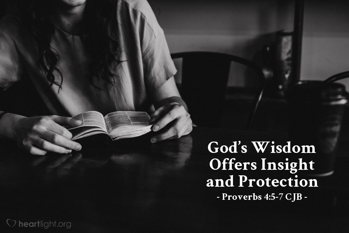 Illustration of Proverbs 4:5-7 CJB — Gain wisdom, gain insight; don't forget or turn from the words I am saying. Don't abandon [wisdom]; then she will preserve you; love her, and she will protect you. The beginning of wisdom is: get wisdom! And along with all your getting, get insight!