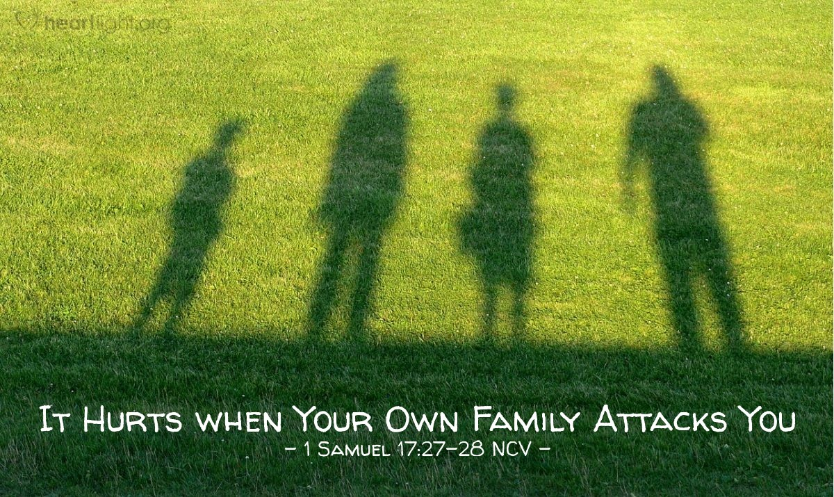 "Illustration of 1 Samuel 17:27-28 NCV — The Israelites told David what would be done for the man who would kill Goliath. When David's oldest brother Eliab heard David talking with the soldiers, he was angry with David. He asked David, ""Why did you come here? Who's taking care of those few sheep of yours in the desert? I know you are proud and wicked at heart. You came down here just to watch the battle."""