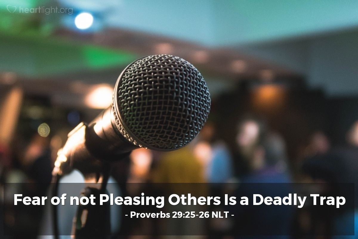 Illustration of Proverbs 29:25-26 NLT — Fearing people is a dangerous trap, but trusting the Lord means safety. Many seek the ruler's favor, but justice comes from the Lord.