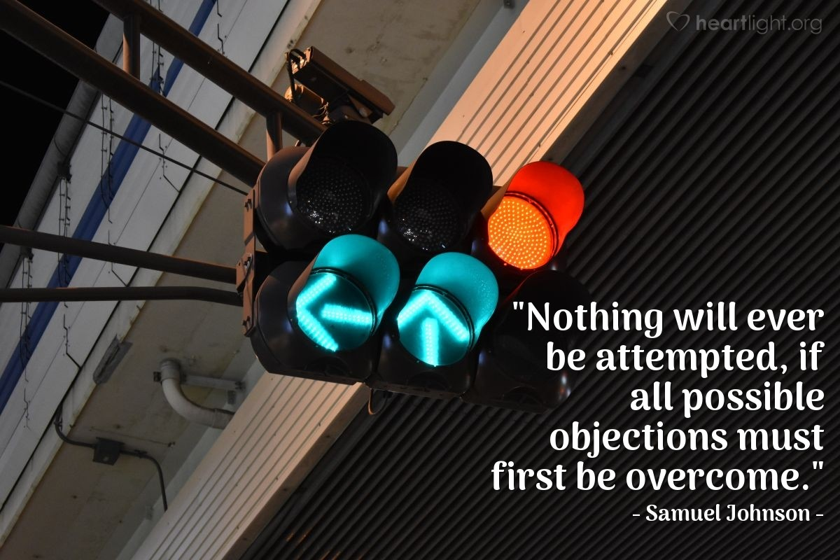"""Illustration of Samuel Johnson — """"Nothing will ever be attempted, if all possible objections must first be overcome."""""""