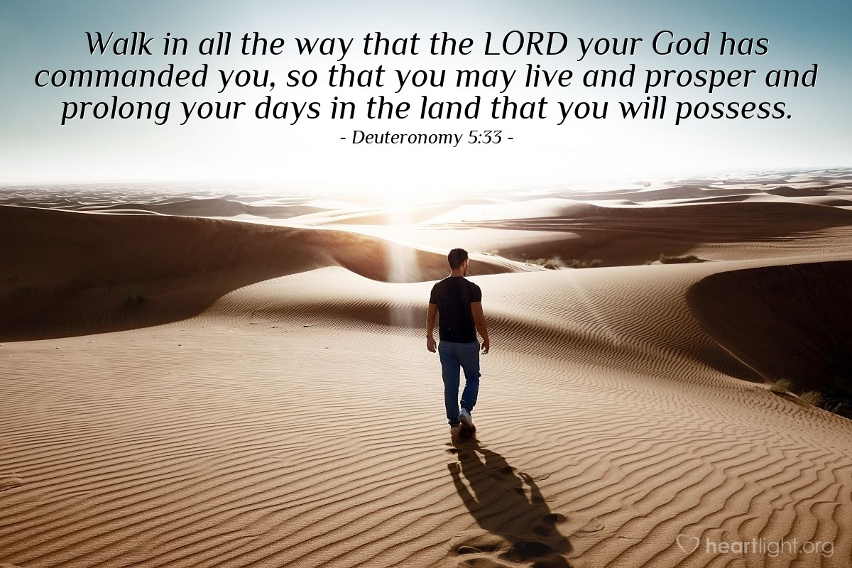Illustration of Deuteronomy 5:33 — Walk in all the way that the LORD your God has commanded you, so that you may live and prosper and prolong your days in the land that you will possess.