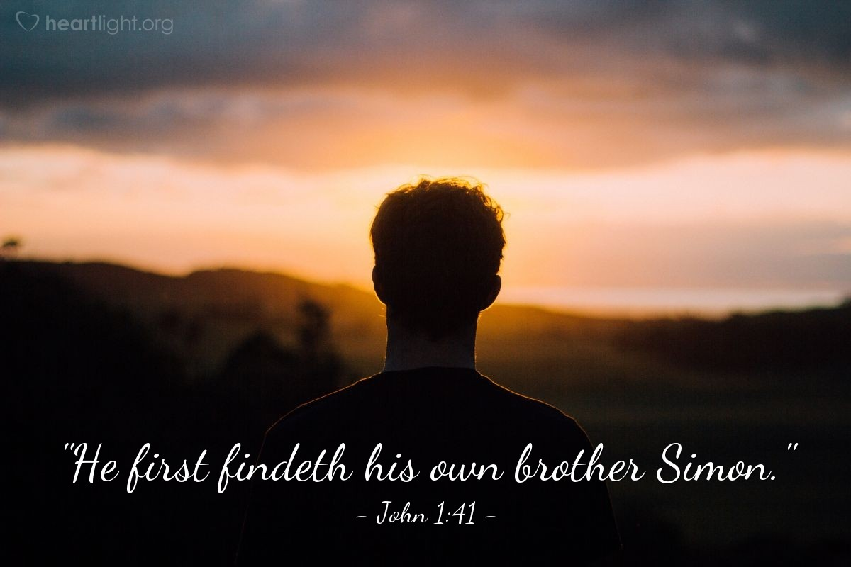 "Illustration of John 1:41 — ""He first findeth his own brother Simon."""