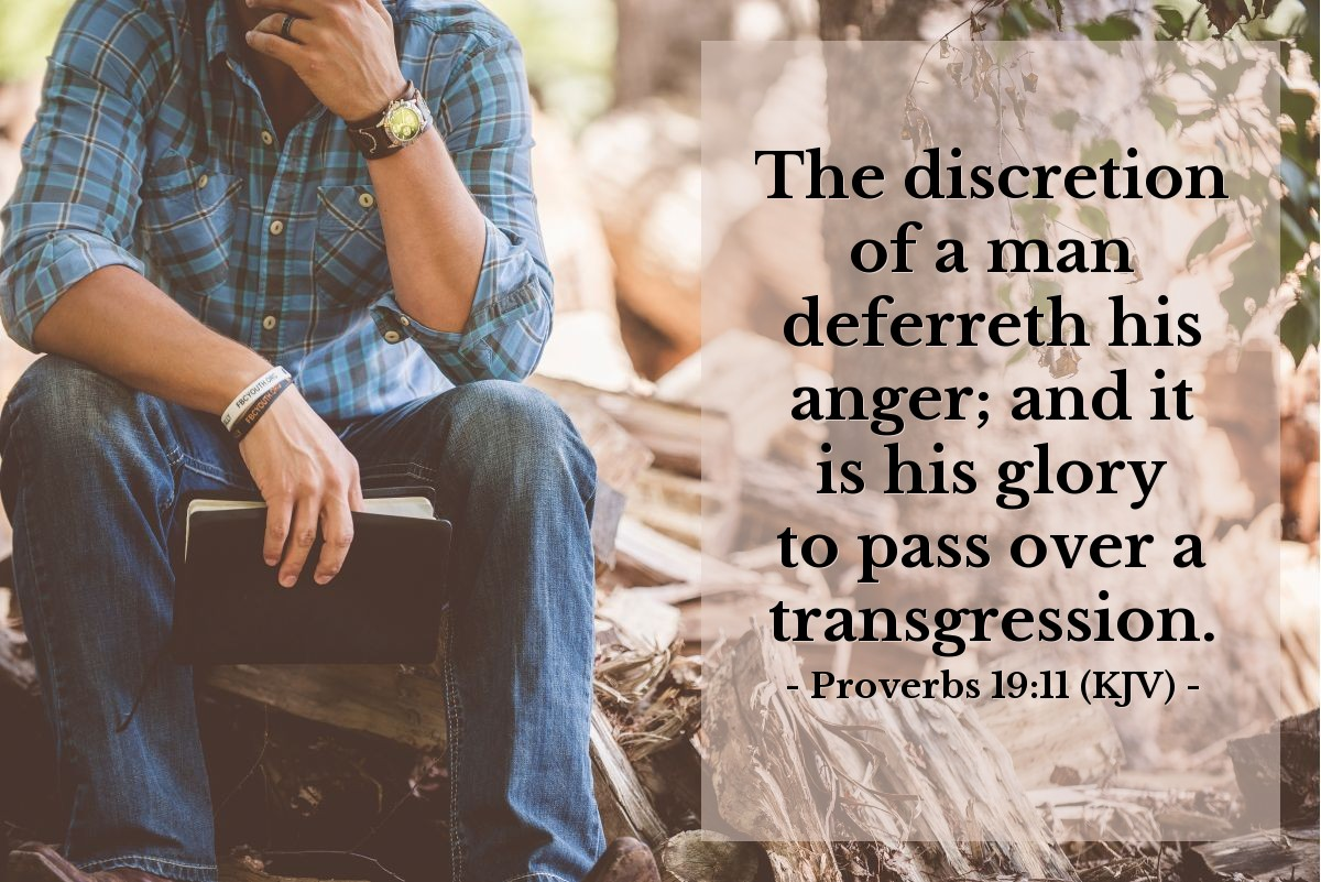 Illustration of Proverbs 19:11 (KJV) — The discretion of a man deferreth his anger; and it is his glory to pass over a transgression.
