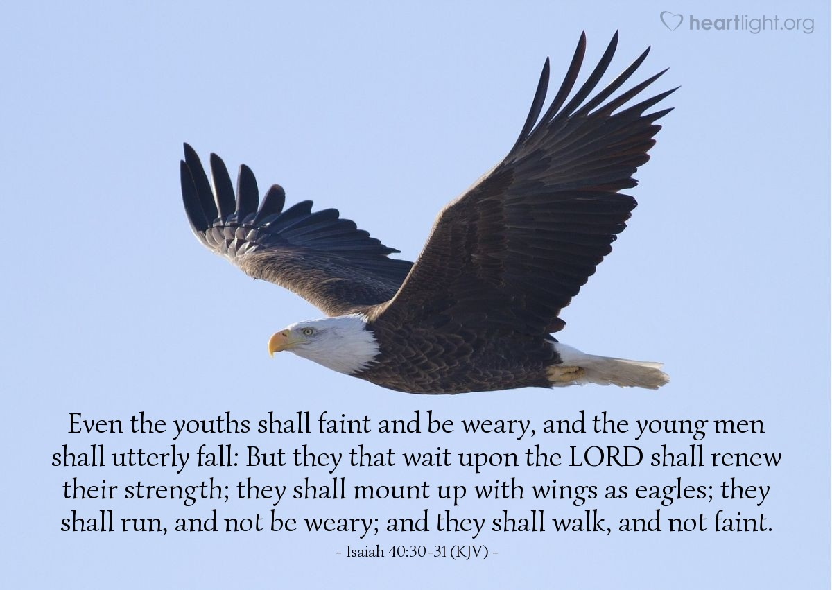 Illustration of Isaiah 40:30-31 (KJV) — Even the youths shall faint and be weary, and the young men shall utterly fall: But they that wait upon the LORD shall renew their strength; they shall mount up with wings as eagles; they shall run, and not be weary; and they shall walk, and not faint.