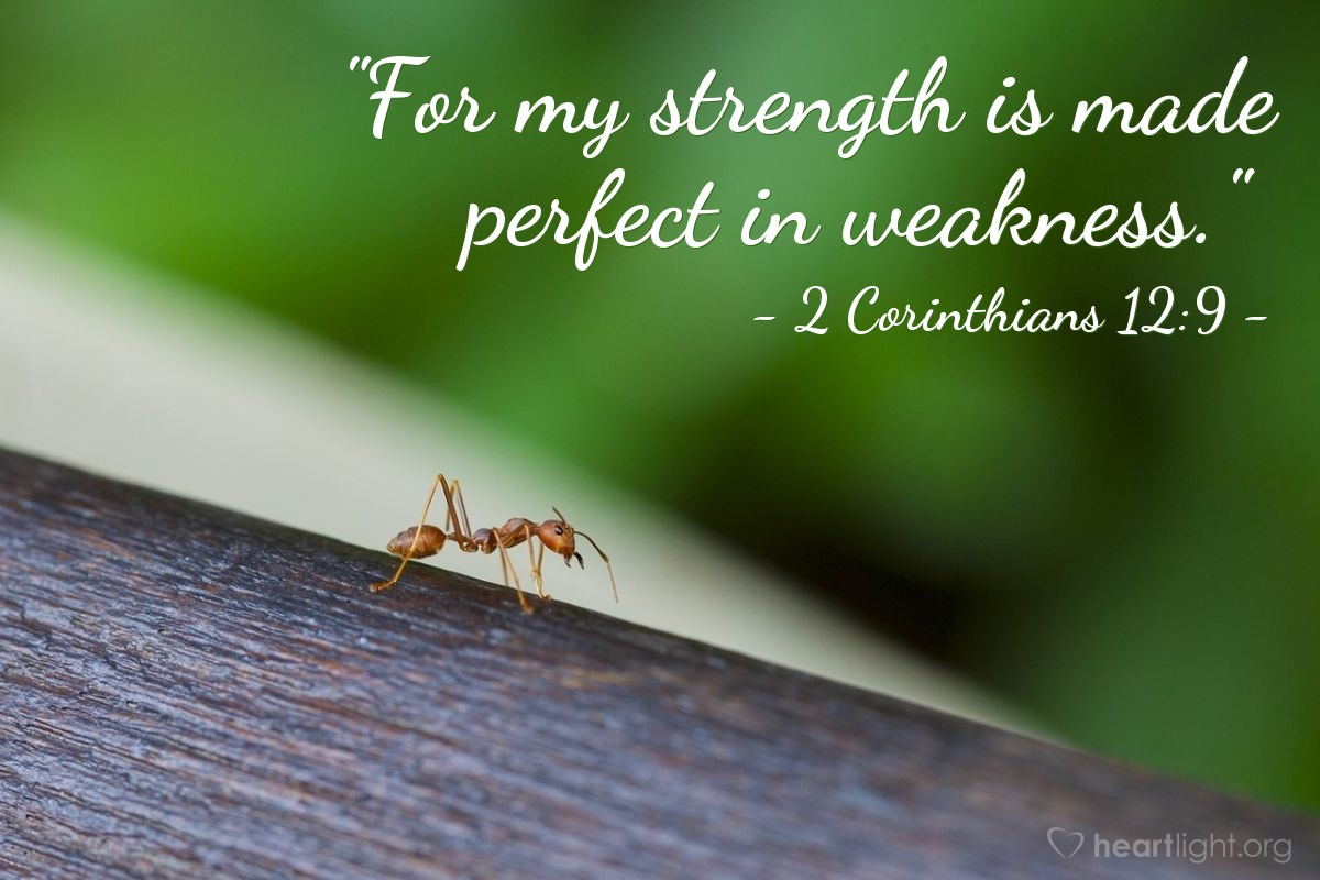 "Illustration of 2 Corinthians 12:9 — ""For my strength is made perfect in weakness."""