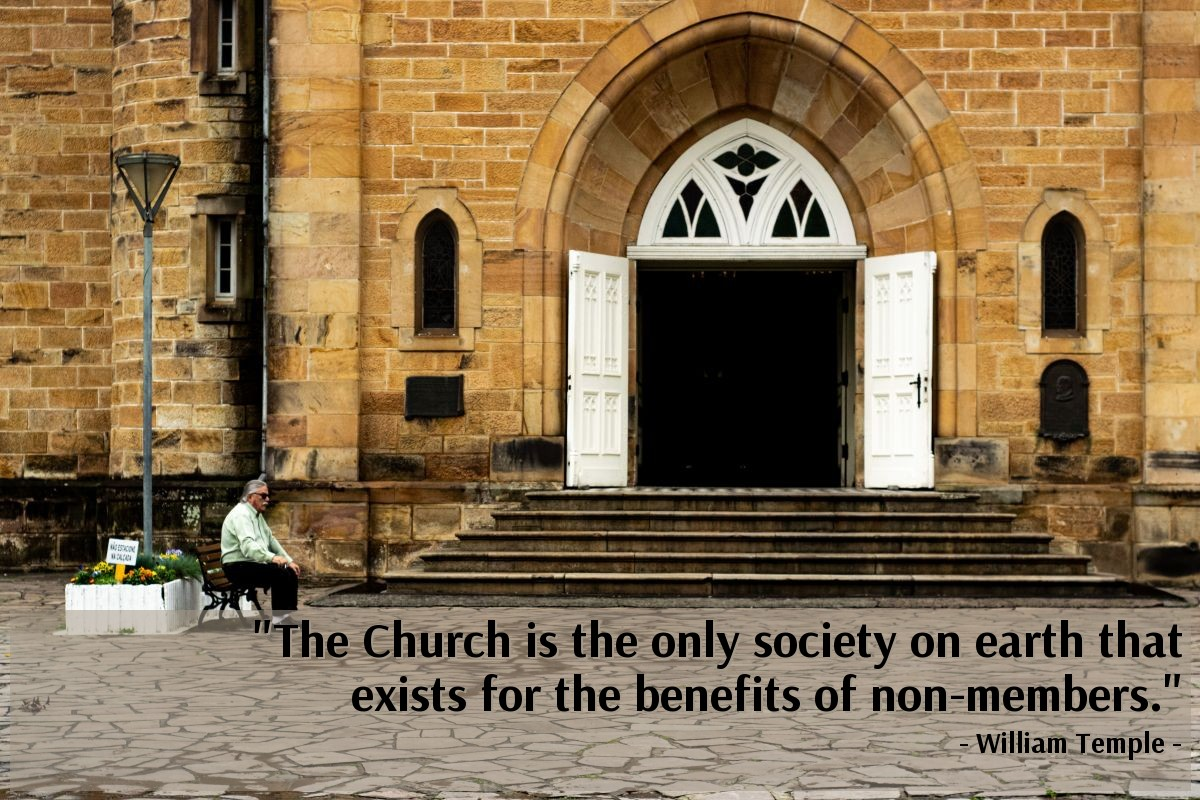 """Illustration of William Temple — """"The Church is the only society on earth that exists for the benefits of non-members."""""""