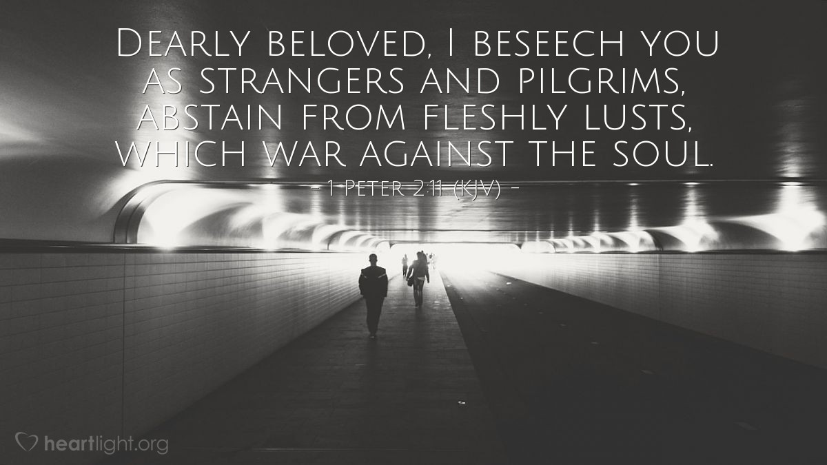Illustration of 1 Peter 2:11 (KJV) — Dearly beloved, I beseech you as strangers and pilgrims, abstain from fleshly lusts, which war against the soul.