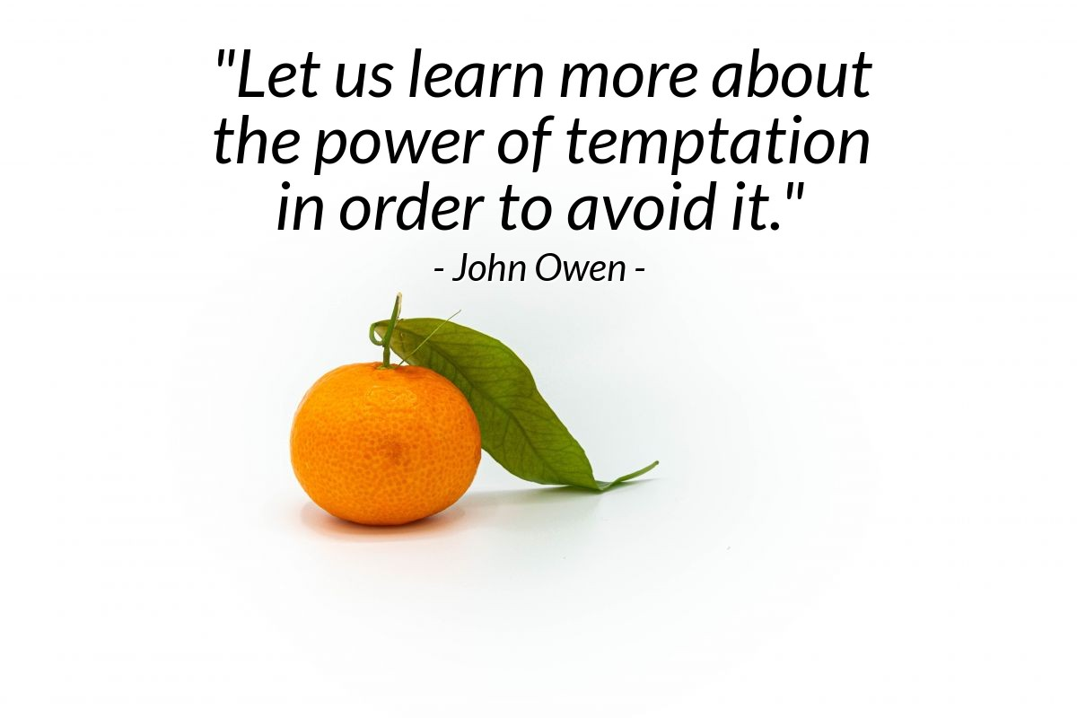 "Illustration of John Owen — ""Let us learn more about the power of temptation in order to avoid it."""