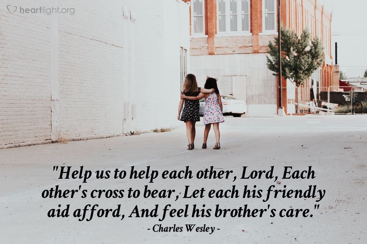 """Illustration of Charles Wesley — """"Help us to help each other, Lord,
