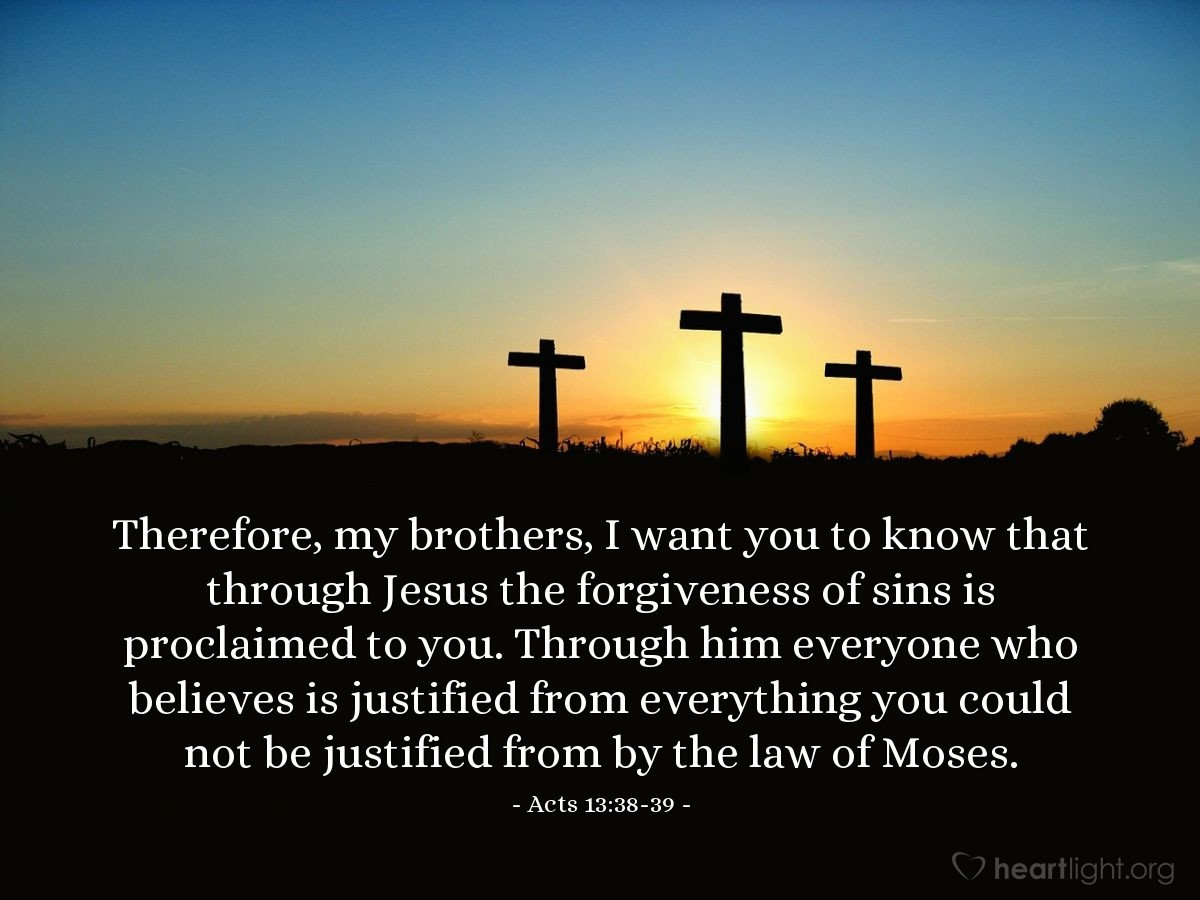 Illustration of Acts 13:38-39 on Forgiveness
