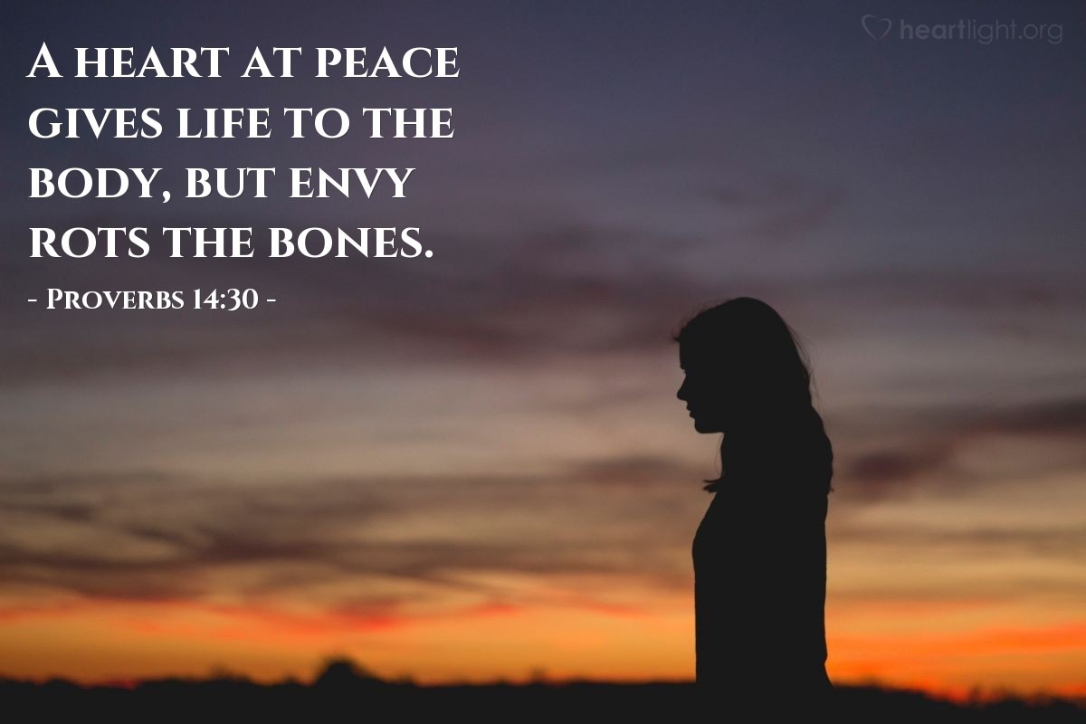 Illustration of Proverbs 14:30 — A heart at peace gives life to the body, but envy rots the bones.