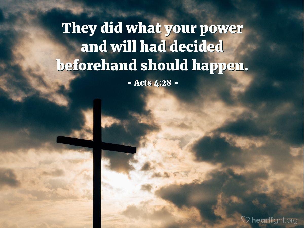 Illustration of Acts 4:28 — They did what your power and will had decided beforehand should happen.