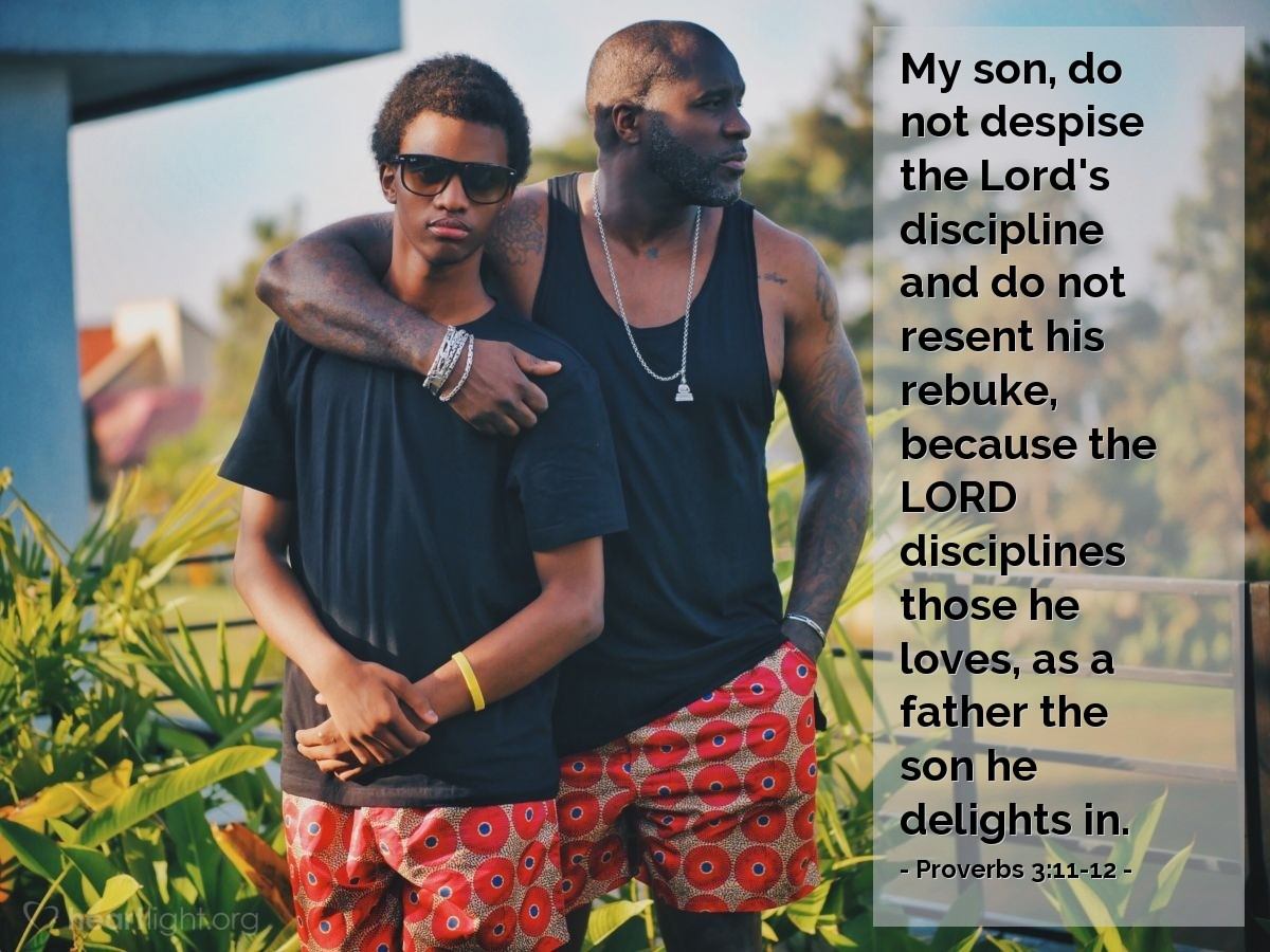 Illustration of Proverbs 3:11-12 — My son, do not despise the Lord's discipline and do not resent his rebuke, because the LORD disciplines those he loves, as a father the son he delights in.