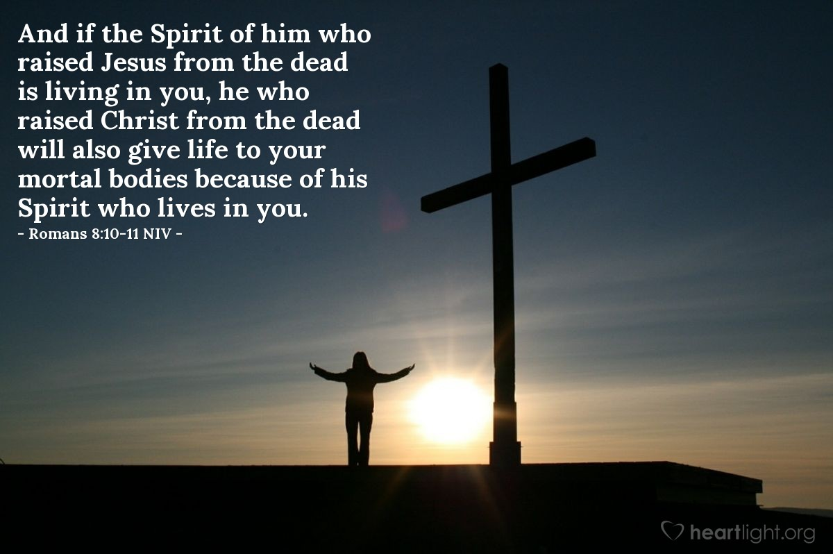 Illustration of Romans 8:10-11 NIV —  And if the Spirit of him who raised Jesus from the dead is living in you, he who raised Christ from the dead will also give life to your mortal bodies because of his Spirit who lives in you.