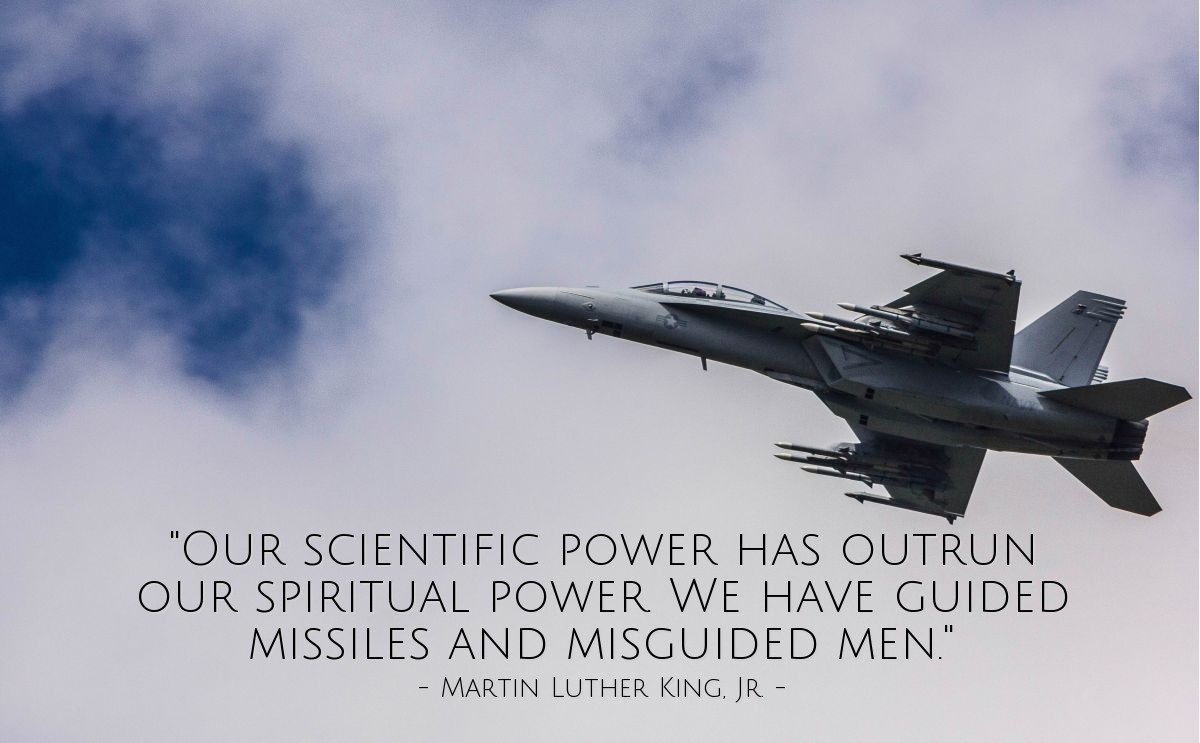 """Illustration of Martin Luther King, Jr. — """"Our scientific power has outrun our spiritual power. We have guided missiles and misguided men."""""""