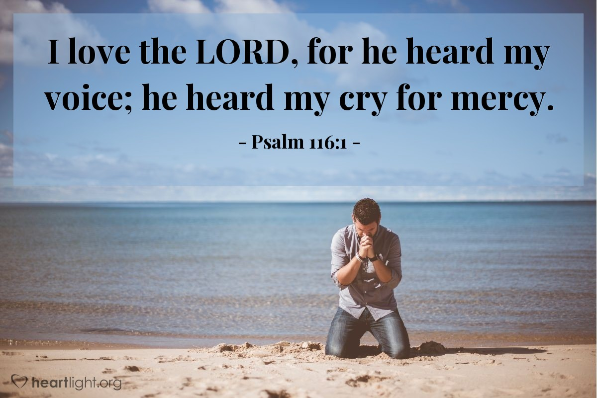 Illustration of Psalm 116:1 — I love the LORD, for he heard my voice; he heard my cry for mercy.