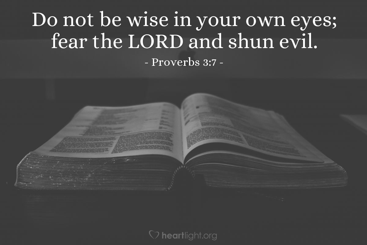 Illustration of Proverbs 3:7 — Do not be wise in your own eyes; fear the LORD and shun evil.