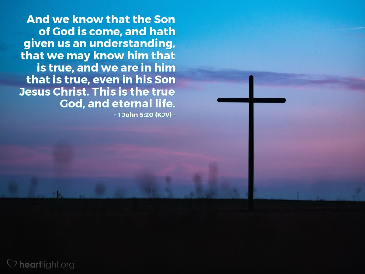 Illustration of 1 John 5:20 (KJV) — And we know that the Son of God is come, and hath given us an understanding, that we may know him that is true, and we are in him that is true, even in his Son Jesus Christ. This is the true God, and eternal life.