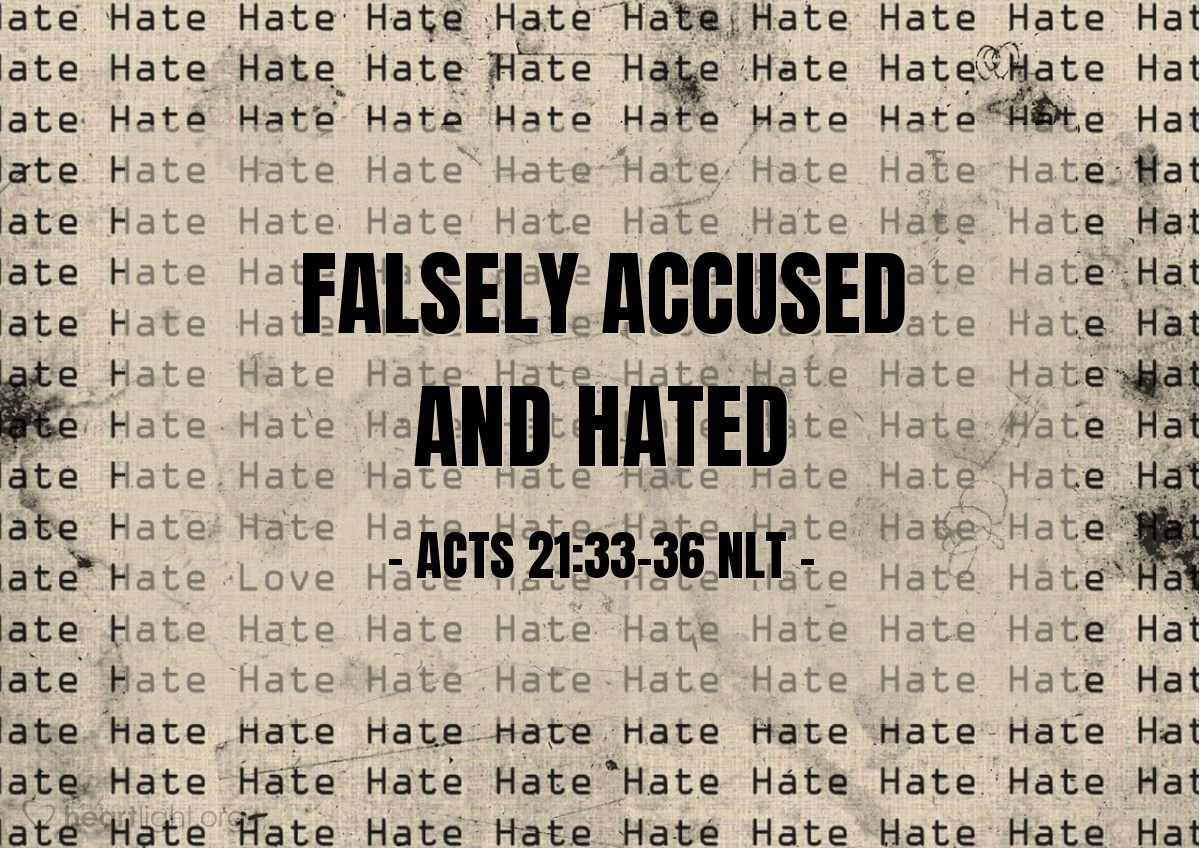 """Illustration of Acts 21:33-36 NLT — [After stopping the mob that was trying to beat Paul to death, the Roman] commander arrested him and ordered him bound with two chains. He asked the crowd who he was and what he had done. Some shouted one thing and some another. Since he couldn't find out the truth in all the uproar and confusion, he ordered that Paul be taken to the fortress. As Paul reached the stairs, the mob grew so violent the soldiers had to lift him to their shoulders to protect him. And the crowd followed behind, shouting, """"Kill him, kill him!"""""""