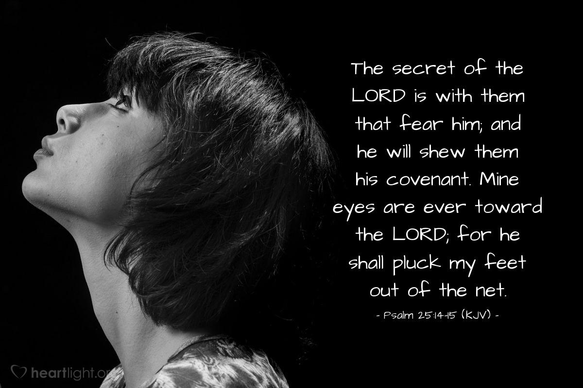 Illustration of Psalm 25:14-15 (KJV) — The secret of the LORD is with them that fear him; and he will shew them his covenant. Mine eyes are ever toward the LORD; for he shall pluck my feet out of the net.