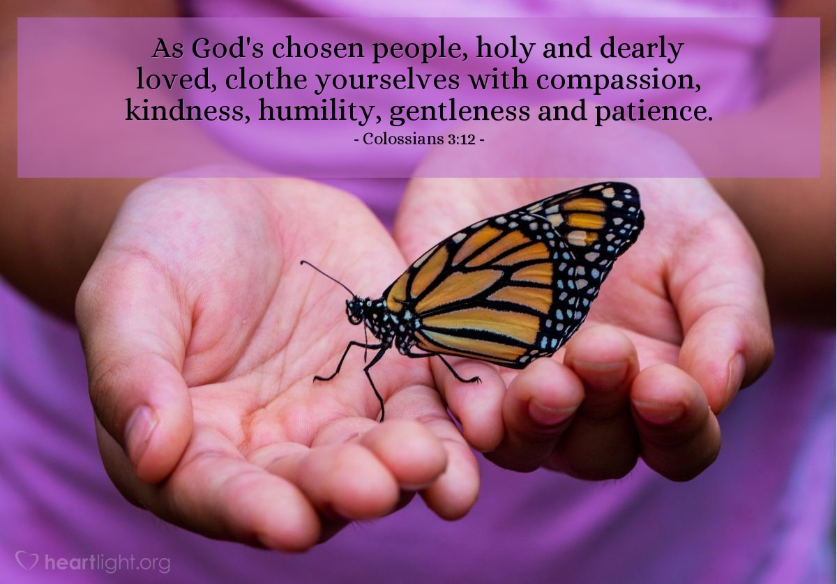 Illustration of Colossians 3:12 — As God's chosen people, holy and dearly loved, clothe yourselves with compassion, kindness, humility, gentleness and patience.